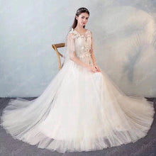 Open Back Wedding Dresses Butterfly Romantic Appliques Simple Bridal Gown JKW230|Annapromdress
