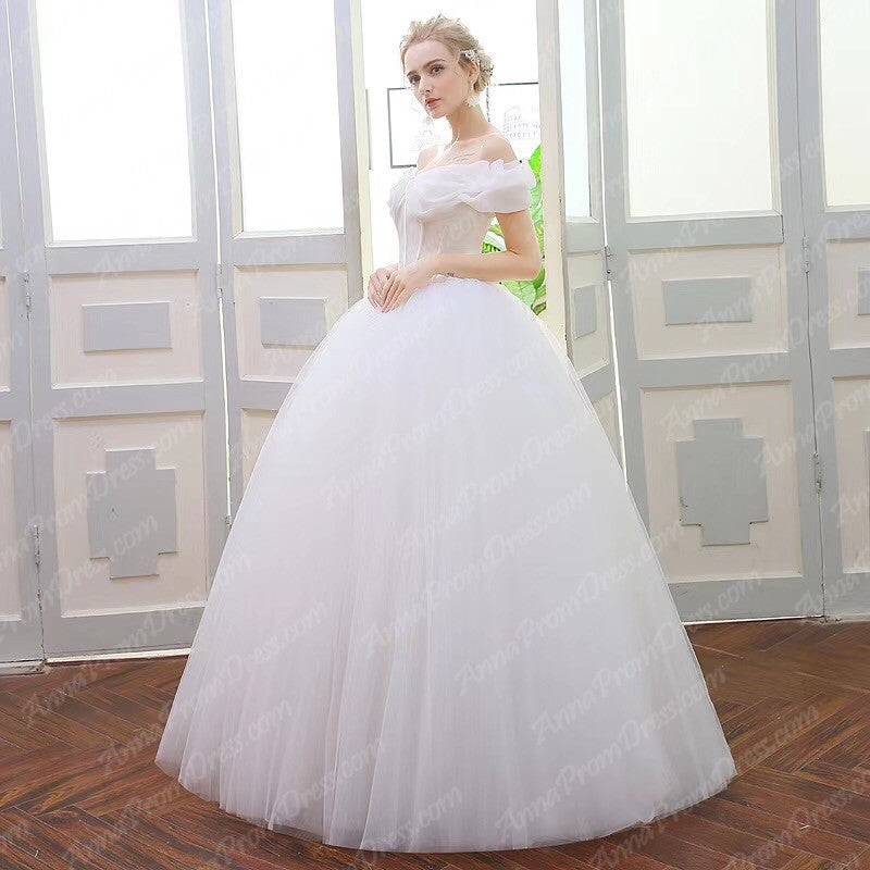 84160fbd207 ... Romantic Wedding Dresses Off-the-shoulder Ball Gown Tulle Simple Bridal  Gown JKW231