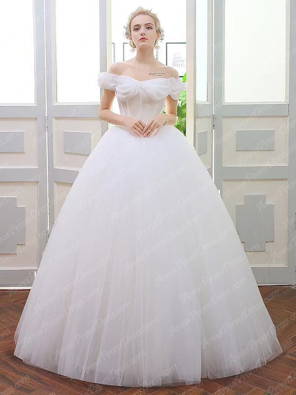 Romantic Wedding Dresses Off The Shoulder Ball Gown Tulle Simple Bridal Gown Jkw231