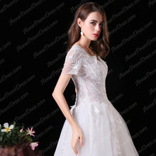 Beautiful Wedding Dresses Floor-length A-line Appliques V-neck Beading Bridal Gown JKW232|Annapromdress