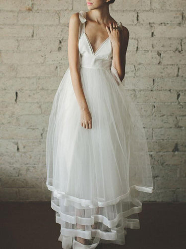 Simple Wedding Dresses A-line Straps V-neck Long Sexy Cheap Beach Bridal Gown JKW233|Annapromdress