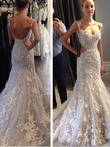 Open Back Wedding Dresses Spaghetti Straps Mermaid Sweep Train Floral Lace Bridal Gown JKW234|Annapromdress