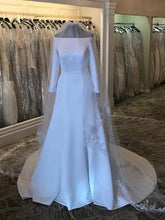 Simple Wedding Dresses A-line Off-the-shoulder Elegant Long Sleeve Bridal Gown JKW236|Annapromdress