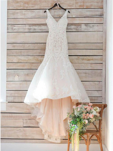 Open Back Wedding Dresses Straps V-neck Mermaid Sweep Train Romantic Bridal Gown JKW237|Annapromdress