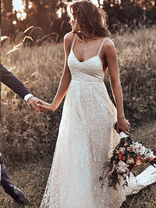 Open Back Wedding Dresses Straps Long Train A-line Lace Simple Bridal Gown JKW238|Annapromdress