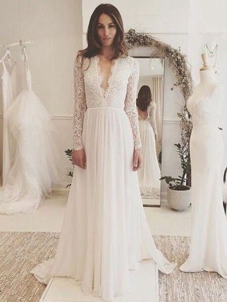 Long Sleeve Wedding Dresses A-line V-neck Brush Train Elegant V-neck Lace Bridal Gown JKW239|Annapromdress