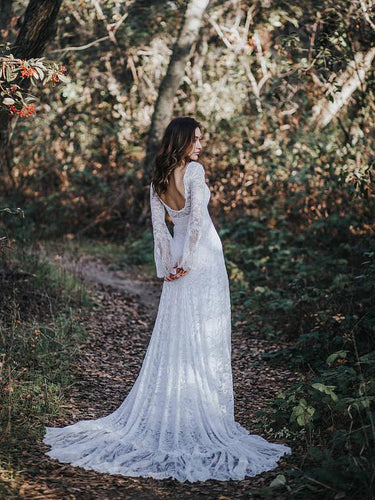 Open Back Wedding Dresses Long Sleeve Long Train Romantic Lace Beach Bridal Gown JKW241|Annapromdress