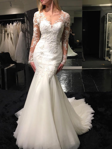 Long Sleeve Wedding Dresses V-neck Long Train Mermaid Lace Beading Bridal Gown JKW242|Annapromdress