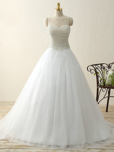 Romantic Wedding Dresses Sweetheart Pearl Ball Gown Sweep Train Bridal Gown JKW243|Annapromdress