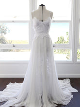 Open Back Wedding Dresses Spaghetti Straps Long Train Lace Simple Beach Bridal Gown JKW246|Annapromdress