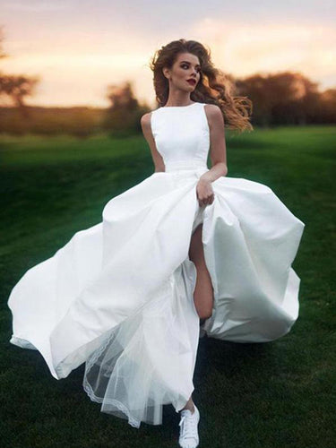 Cheap Wedding Dresses Scoop Romantic A-line Long Train Simple Satin Bridal Gown JKW249|Annapromdress