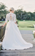 Beautiful Wedding Dresses V-neck Sweep Train Ivory Lace Tulle Romantic Bridal Gown JKW250|Annapromdress