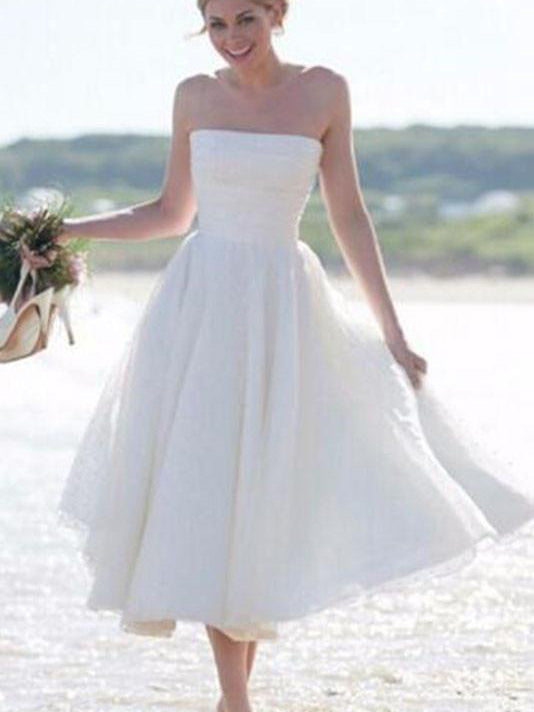 Short Wedding Dresses Strapless Tea Length Romantic Tulle Simple