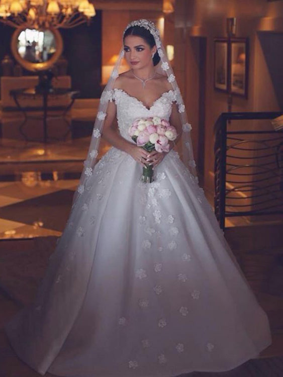 Ball Gown Wedding Dresses Off-the-shoulder Long Train Hand-Made Flower Big Bridal Gown JKW252|Annapromdress