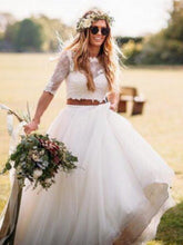 Two Piece Wedding Dresses Scoop Sweep Train Romantic Half Sleeve Lace Bridal Gown JKW253|Annapromdress