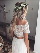 Two Piece Wedding Dresses Off-the-shoulder Lace Short Sleeve Chiffon Simple Bridal Gown JKW254|Annapromdress