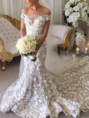 Luxury Wedding Dresses Off-the-shoulder Hand-Made Flower Long Train Mermaid Bridal Gown JKW256|Annapromdress
