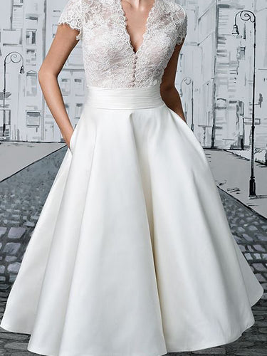 Short Wedding Dresses V-neck Lace Tea-length Ivory Simple Vintage Bridal Gown JKW258|Annapromdress