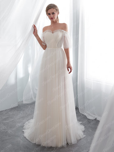 Half Sleeve Wedding Dresses A-line Short Train Elegant Simple Romatic Lace Bridal Gown JKW259|Annapromdress