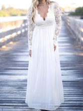 Simple Cheap Wedding Dresses V-neck Long Sleeve Romantic Lace Open Back Bridal Gown JKW260|Annapromdress
