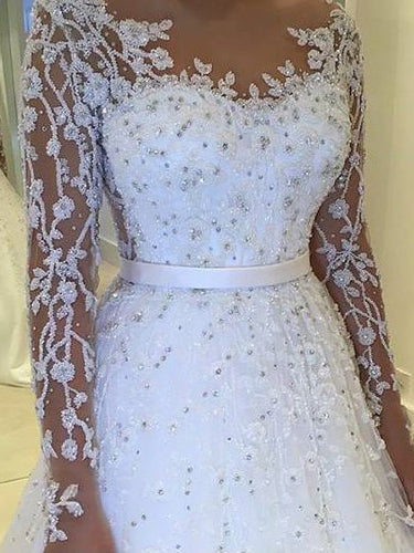 Ball Gown Wedding Dresses with Bling Bateau Lace Short Train Long Sleeve Bridal Gown JKW261|Annapromdress