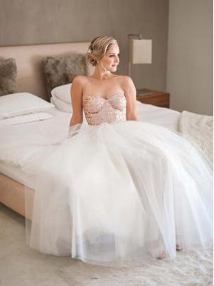 Simple Wedding Dresses A-line Sweetheart Elegant Sequins Lace Cheap Bridal Gown JKW262|Annapromdress
