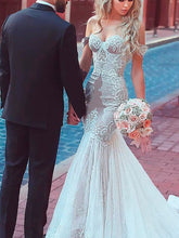 Lace Wedding Dresses Off-the-shoulder Romantic Long Train Mermaid Bridal Gown JKW263|Annapromdress