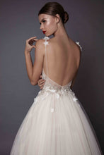 Backless Wedding Dresses A-line Hand-Made Flower Tulle Simple Open Back Bridal Gown JKW265|Annapromdress