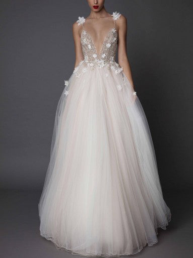 Backless Wedding Dresses A-line Hand-Made Flower Tulle Simple Open Back Bridal Gown JKW264|Annapromdress