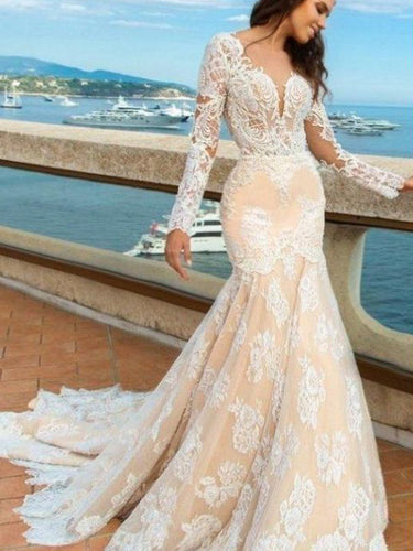 Lace Wedding Dresses Scoop Trumpet Mermaid Open Back Romantic Backless Bridal Gown JKW270|Annapromdress