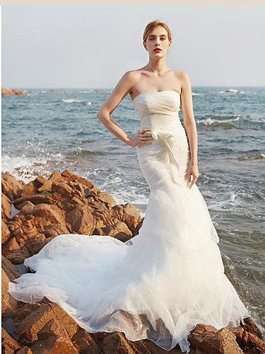 Mermaid Wedding Dresses Strapless Beading Long Train Organza Simple Bridal Gown JKW271|Annapromdress