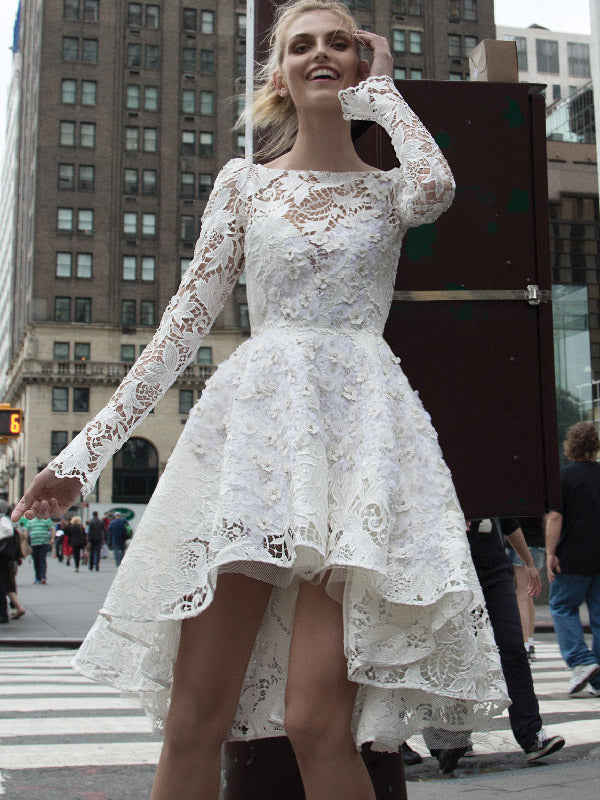 High Low Wedding Dresses Bateau A-line Beautiful Floral Lace Long Sleeve Bridal Gown JKW273|Annapromdress