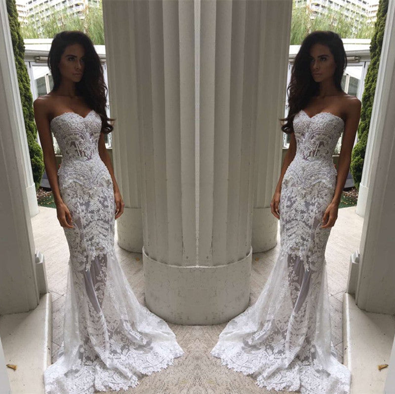 Beautiful Wedding Dresses Sweetheart Short Train Lace Beading Sparkly Bridal Gown Jkw274