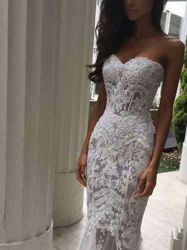 Beautiful Wedding Dresses Sweetheart Short Train Lace Beading Sparkly Bridal Gown JKW274|Annapromdress