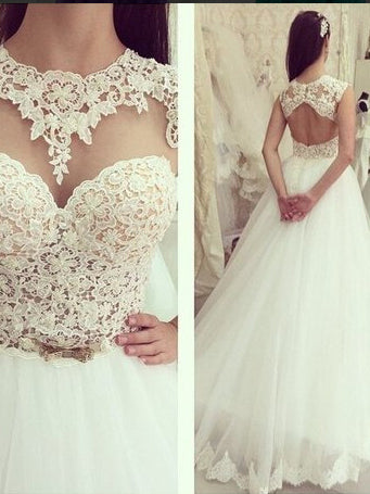 Open Back Wedding Dresses A Line Sweep Train Appliques Sexy Princess Lace Bridal Gown JKW275|Annapromdress