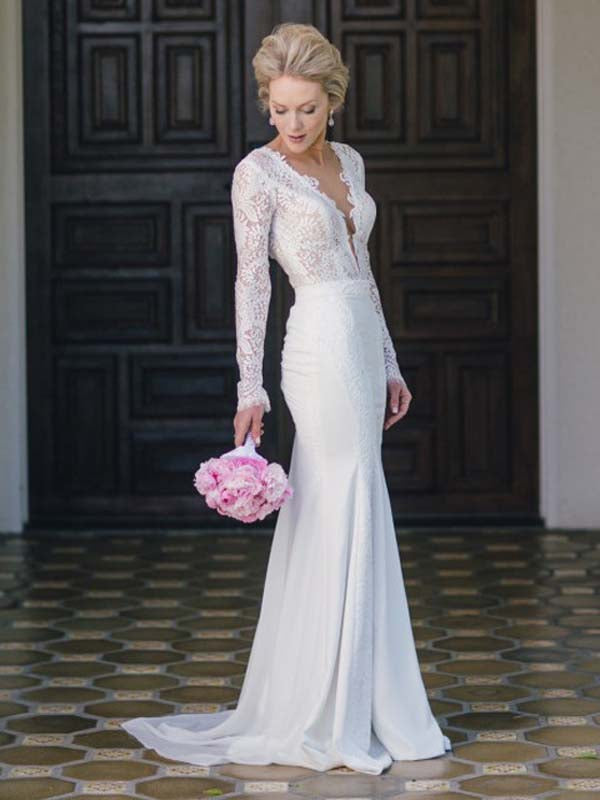 Long Sleeve Wedding Dresses V-neck Lace Simple Ivory Chiffon Mermaid Bridal Gown JKW279|Annapromdress