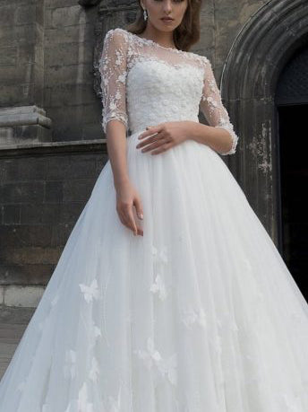 Half Sleeve Wedding Dresses A Line Long Train Romantic Lace Bridal Gown JKW281|Annapromdress
