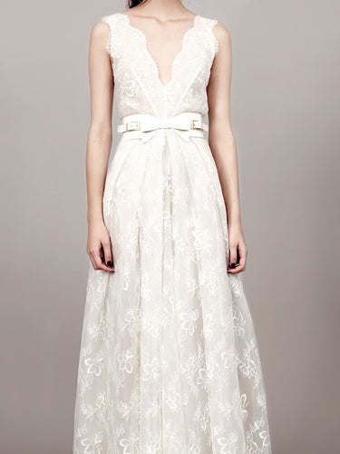 Simple Wedding Dresses A Line V-neck Floor-length Romantic Lace Bridal Gown JKW282|Annapromdress