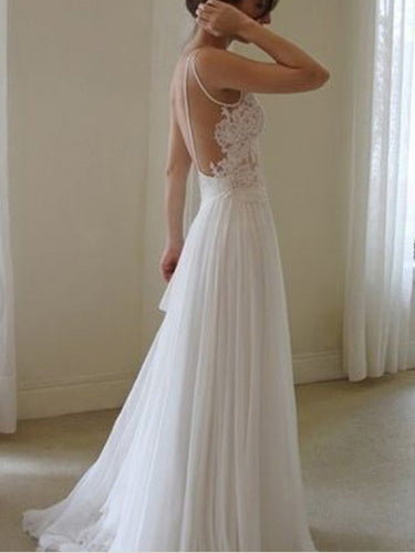 Open Back Wedding Dresses V-neck A Line Chic Simple Backless Cheap Bridal Gown JKW284|Annapromdress