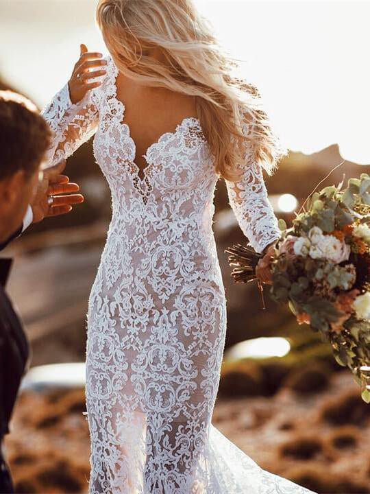29c7313e1a Backless Wedding Dresses Mermaid V-neck Beautiful Lace Long Sleeve Beach  Bridal Gown JKW285