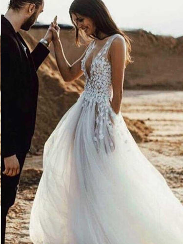 Beach Wedding Dresses Deeep V-neck A-line Hand-Made Flower with Slit Sexy Bridal Gown JKW288|Annapromdress