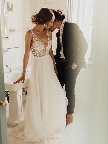 Sparkly Wedding Dresses with Straps Aline Ivory Romantic Beading Open Back Bridal Gown JKW289|Annapromdress