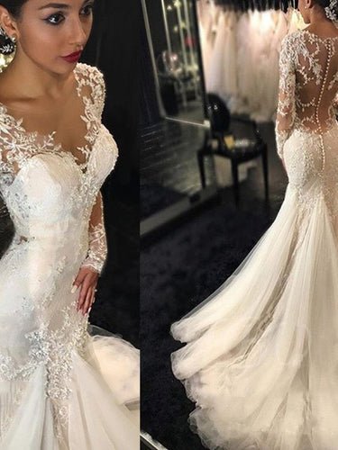 Long Sleeve Wedding Dresses Romantic Lace Sweep Train Beading Mermaid Bridal Gown JKW292|Annapromdress