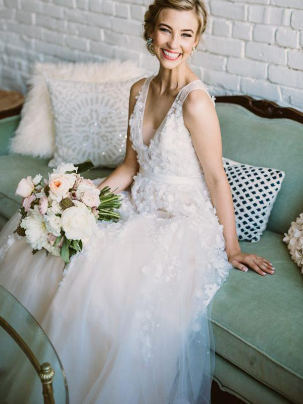 Beautiful Wedding Dresses With Straps A Line Beading Lace Romantic