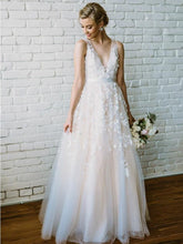 Beautiful Wedding Dresses with Straps A-line Beading Lace Romantic Bridal Gown JKW293|Annapromdress