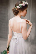 Simple Wedding Dresses Romantic Lace Floor-length Grey Aline Cheap Bridal Gown JKW295|Annapromdress