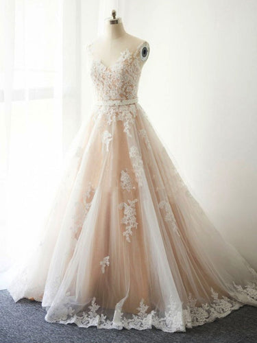 Beautiful Wedding Dresses with Sash A-line Appliques Sweep Train Romantic Bridal Gown JKW296|Annapromdress