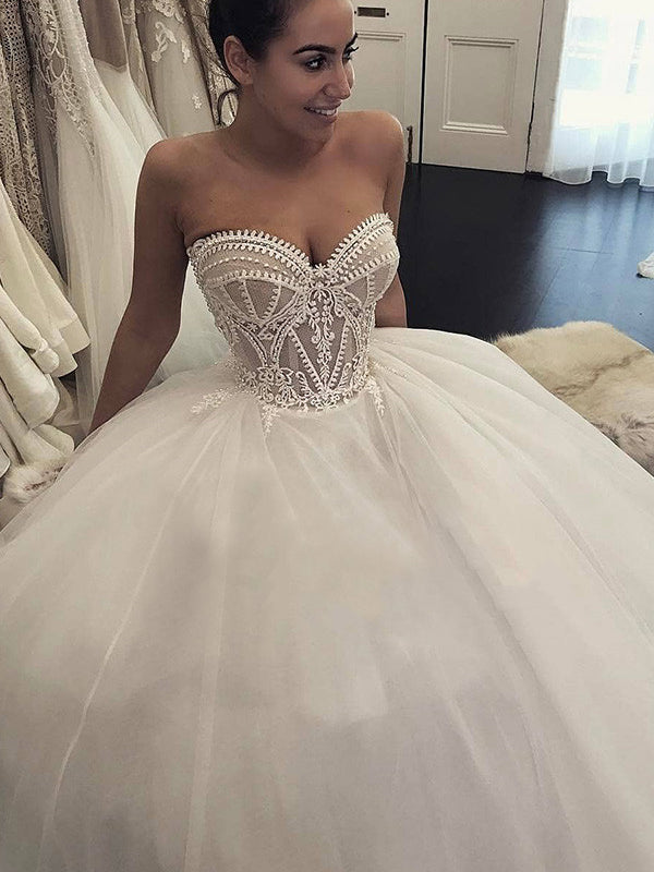 Simple Wedding Dresses Romantic Appliques Sweetheart Long Train Ball Gown Bridal Gown Jkw299