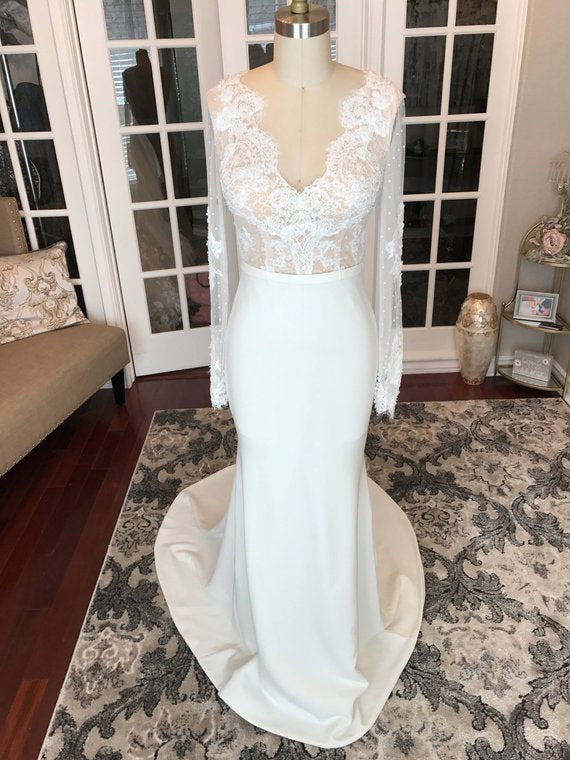 Long Sleeve Wedding Dresses Romantic V Neck Mermaid Long Open Back