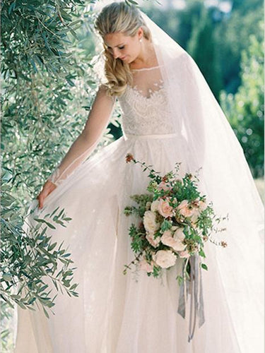 Simple Wedding Dresses Aline Sweep Train Long Sleeve Chiffon Lace Bridal Gown JKW303|Annapromdress
